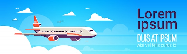 Web banner concept with an airplane