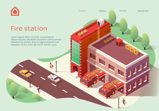Web banner fire station lettering cartoon flat.