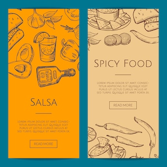 Web banner or flyer template with sketched mexican food elements