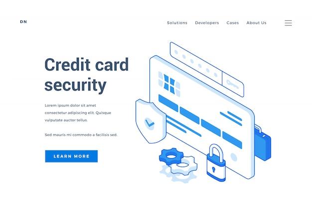 Веб-баннер для службы безопасности кредитных карт Premium векторы