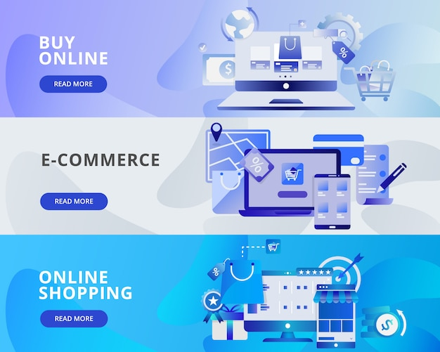 Web banner illustration of buy online, e-commerce and online shopping