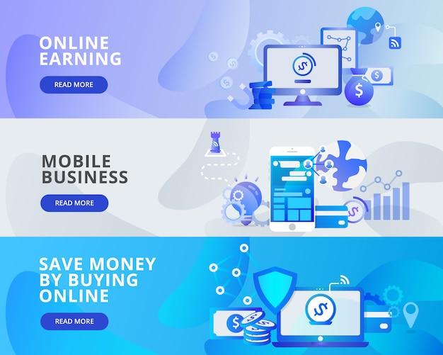 Web banner illustration of online learning, mobile business