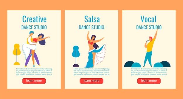 Web banner instagram stories cartoon characters for dance, sing studio