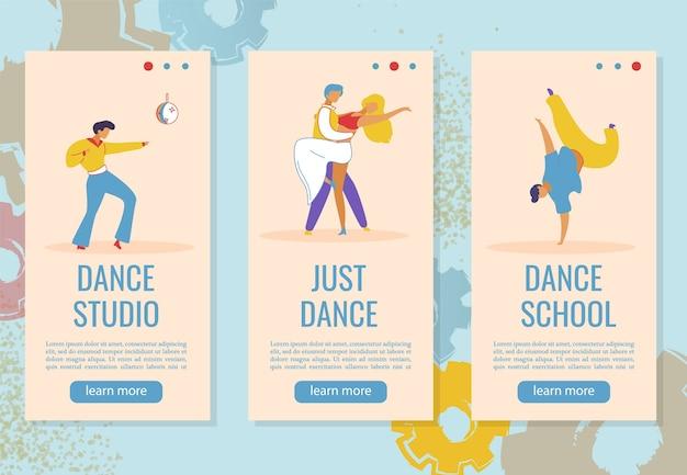 Web banner instagram stories cartoon characters for dance studio.