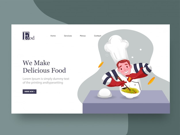 Web banner or landing page , chef character presenting dish with sprinkling for we make delicious food.