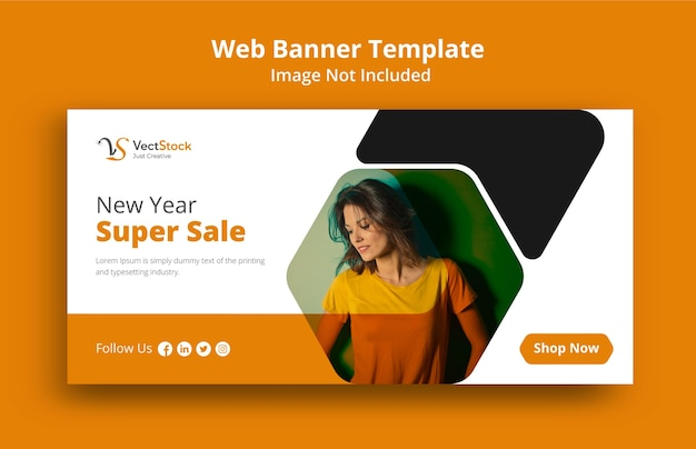Web banner for new year super sale