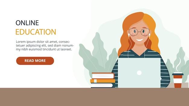 Веб-баннер мультяшныйа в плоском стиле онлайн-образования