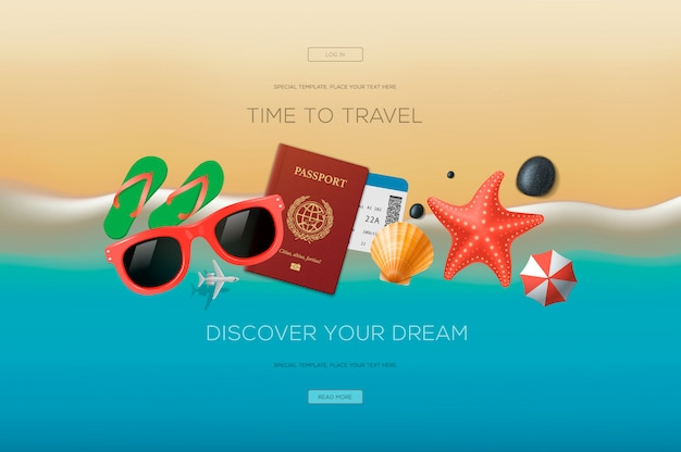 旅行、休暇、冒険をテーマにしたwebバナー。旅行の時間です。 webサイトおよびモバイルwebサイト開発のモダンなイラストのコンセプト。