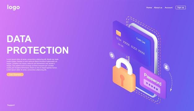 웹 배너 개인 데이터 보호 아이소메트릭 개념 사이버 보안 및 개인 정보 보호