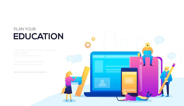 Web banner plan your education. learning at a specific time concept. vector separate time for study.