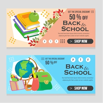Web banner school template with books flat
