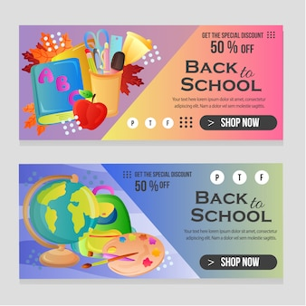 Web banner school template with school stock