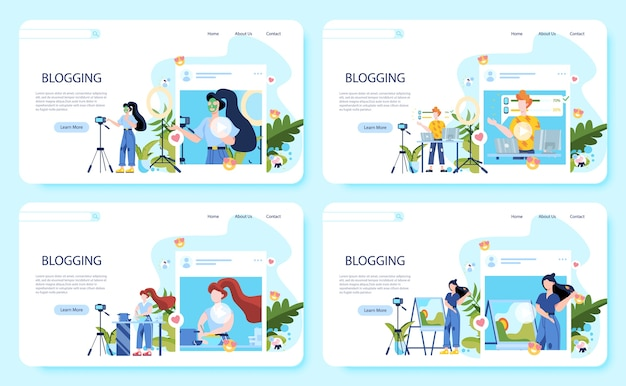 Web banner set of blogging concept. idea of creativity and making content, modern profession. characters recording video with cameras for their blog.