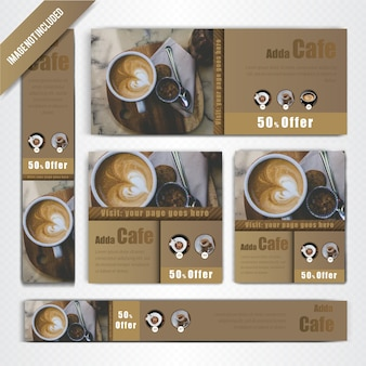 Web banner set for coffee shop