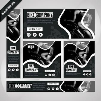 バイク会社のwebバナーセット Premiumベクター