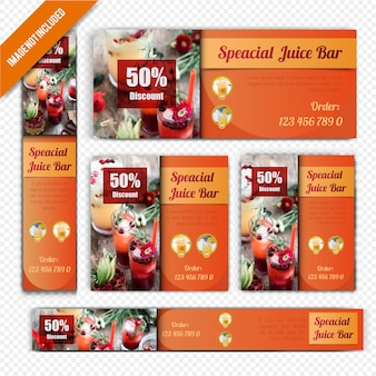 Web banner set for juicy bar