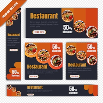Web banner set for restaurant