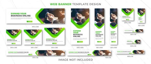 Webバナーテンプレートデザインセットのレイアウトまたは緑のさまざまなサイズの広告バナーのセット