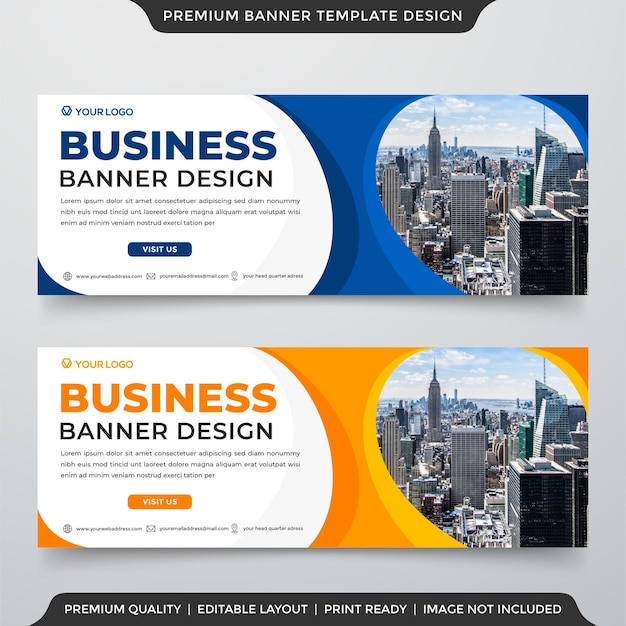 Web banner template design with minimalist and abstract background style