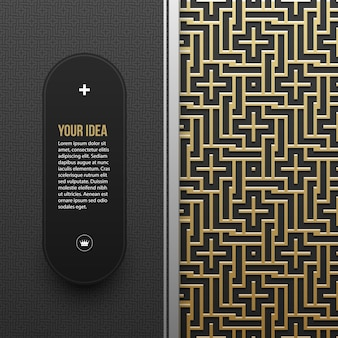 Web banner template on golden metallic background with seamless geometric pattern. elegant luxury style.