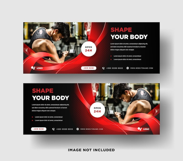 Web banner template. gym with elegant design