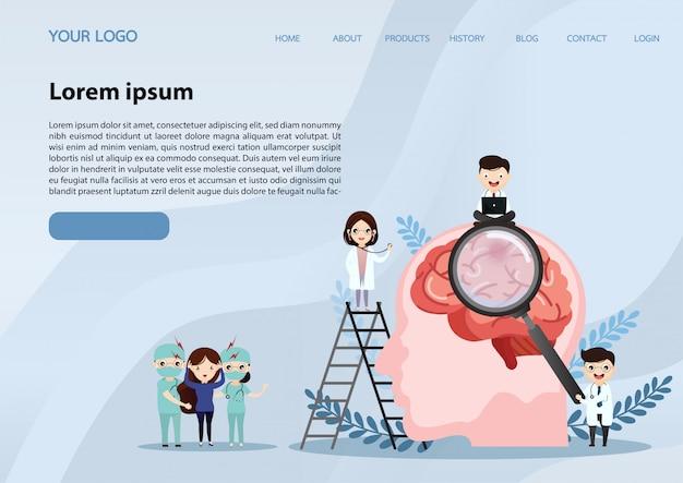 Web banner template. human brain stroke.