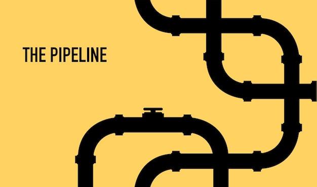 Шаблон веб-баннера промышленный фон с трубопроводом нефть, вода или газопровод с арматурой