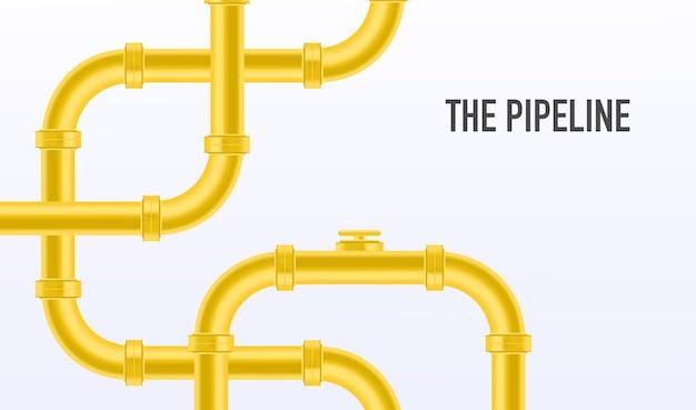 웹 배너 템플릿 노란색 파이프라인이 있는 산업 배경 석유 물 또는 가스 파이프라인