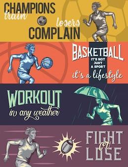 Шаблон веб-баннера с иллюстрациями бегущего человека.