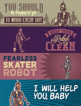Web banner template with illustrations of a robot with hoover, bag, and walking robots.