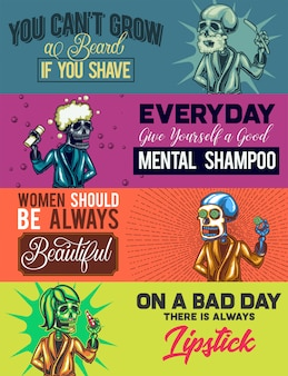 Web banner template with illustrations of shaving, showering, having a mask and lipstic skeletons.