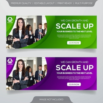 Web banner template with modern style