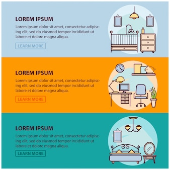 Of web banner template with outline icons of interior design and art, home apartment decorating work. illustration template for infographic or website