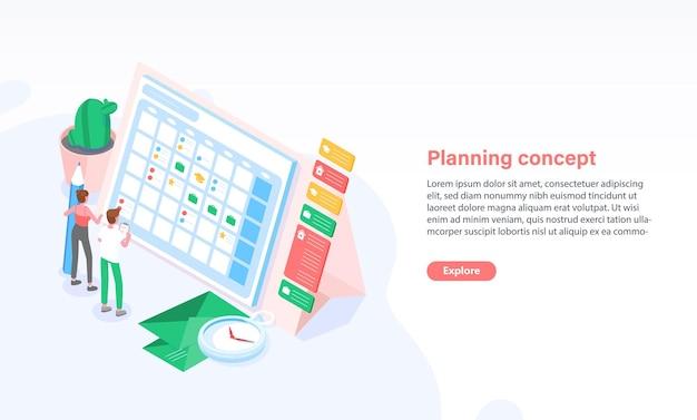 巨大なスケジュールや時刻表の前に立っている人々とのwebバナーテンプレート。計画、タスク管理、時間の編成。広告、プロモーションのためのカラフルな等角投影ベクトルイラスト。