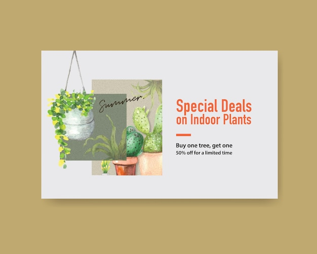 Web banner template with summer plants design