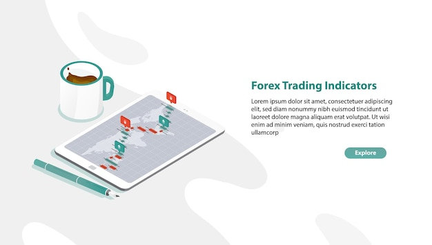 Web banner template with tablet pc and foreign exchange market rate graph or forex trading indicators on screen, pen, cup of coffee