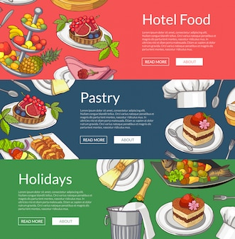 Web banner templates with hand drawn restaurant or room service elements