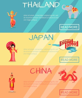 Web banner of thailand statue and elephant on blue, japan woman in national clothes and bridge on yellow and china warrior, red dragon on orange.