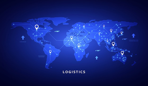 Web banner on the theme of logistics, warehouse, freight, cargo transportation.