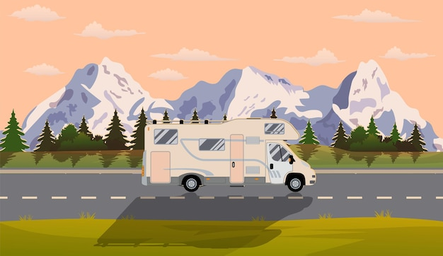 Web banner on the theme of road trip