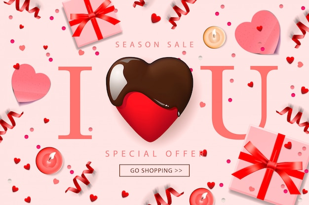 Web banner for valentine's day sale.