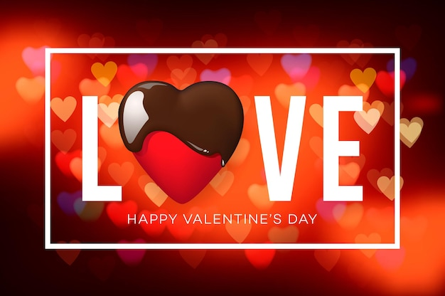 Web banner for valentine's day. top view on composition with chocolate heart, blurred background.