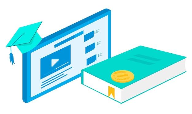 Веб-баннер видео обучение в интернете. получите необходимые знания дома.