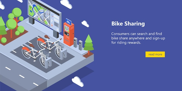 Web banner with bicycles available for rent parked at docking stations on city street, payment terminals, map stand