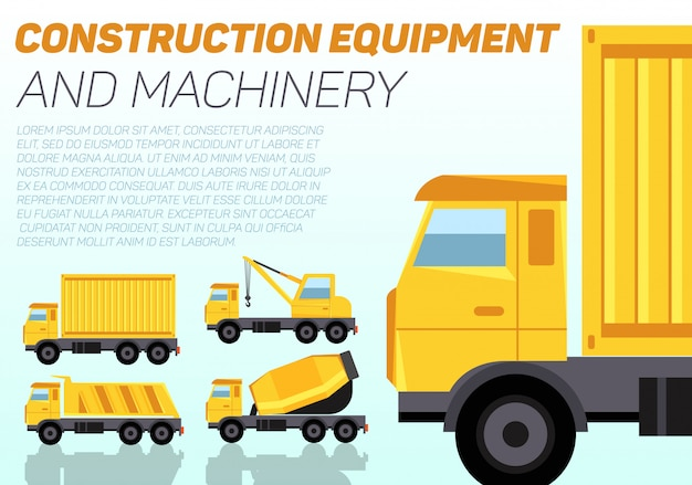 Web  banner with construction machinery and sample text.