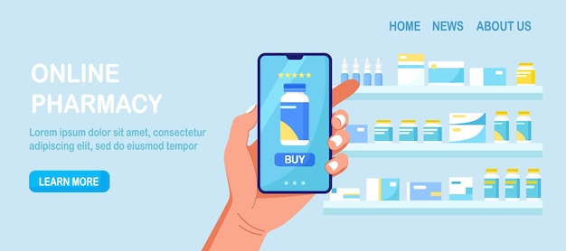 Web banner with human hand holding mobile phone for medicine online payment.