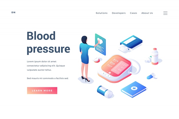 Веб-баннер с медицинским оборудованием и рабочим для измерения артериального давления