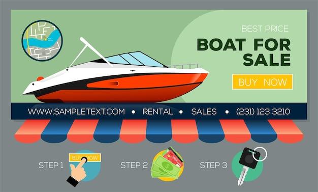 판매 또는 대여용 모터 요트가 있는 웹 배너 온라인으로 모터보트 구매 또는 대여