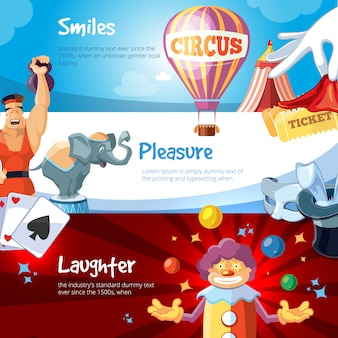 Web banners of circus show