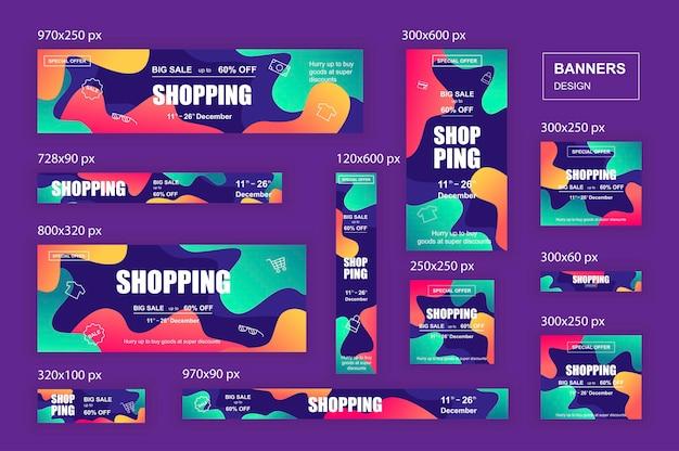 ソーシャルネットワークとショッピング広告のマーケティング資料用のさまざまなサイズのwebバナー